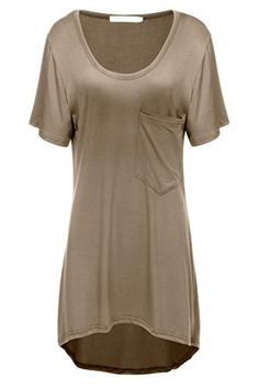 Meaneor Womens Short Sleeve Loose TShirt Tops Hi low Blouse With Pocket Coffee XL * For more information, visit image link.