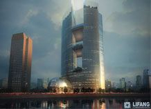 A new tall building design in China - visit www.lifang-cg.com