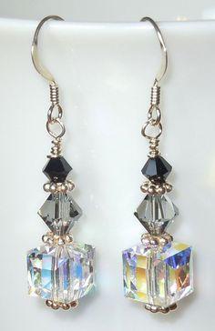 Swarovski Crystal Drop Earrings Shades of Gray