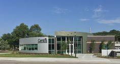 Centris Federal Credit Union Council Bluffs, IA elZinc Rainbow Green Flatlocks Architect: Holland Basham Architects Installer: City Glass