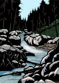 Silver Falls by Aki Sogabe Reductive relief. Size/Date Unlisted Lino Art, Woodcut Art, Linocut Prints, Art Prints, Block Prints, Landscape Art, Landscape Paintings, Gravure Photo, Dibujos Zentangle Art