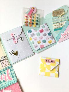 Mini Scrapbook Albums, Scrapbook Journal, Scrapbook Paper Crafts, Diy Scrapbook, Snail Mail Pen Pals, Snail Mail Gifts, Pen Pal Letters, Envelope Art, Scrapbook Embellishments