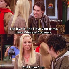 Princes Consuela Bananahamock (don't know if I spelt that right) and Crap Bag If I had to change my name my first name would be Monica-Rachel-Phoebe my middle name would be Chandler-Joey-Ross and my surname would be Geller-Green-Buffay-Bing-Tribbiani Serie Friends, Friends Tv Show, Friends In Love, Friends Season 10, Birthday Girl Meme, Phoebe Buffay, Friend Memes, Tv Show Quotes, Flirting Quotes