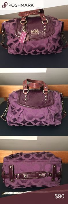 PRICE ⬇️ PRE LOVED COACH BAG All purple, tried getting good photos of the fabric & handles to show the wear. Hardware is silver, all in working condition & clean. Inside has some make up stains including a nail polish stain as well. Three additional small pockets inside for cell, etc. Both Coach leather tags attached & inside has the leather tag with authenticity number. Coach Bags