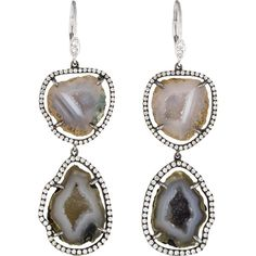 Meira T Druzy Geode Earrings ($1,025) ❤ liked on Polyvore featuring jewelry, earrings, meira t jewelry, 14 karat gold jewelry, druzy drop earrings, meira t and druzy jewelry