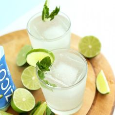 SUPER refreshing Coconut Gin & Tonics! A healthier, 4 ingredient cocktail that's NATURALLY sweetened!