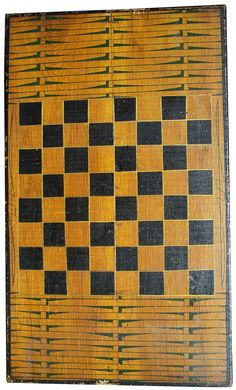 19th century North Carolina painted Game Board, a mustard back ground with a green weave to give the illusion of a basket , black squares and black boarder.