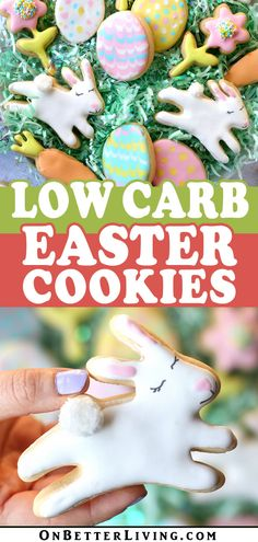 If you're looking to cut back on sugar but still want to bake up some cookies this Easter, these Low Carb Easter Cookies taste incredible! Get the easy recipe now! Summer Cookies, Easter Cookies, Baby Cookies, Heart Cookies, Valentine Cookies, Birthday Cookies, Christmas Cookies, Fun Easy Recipes, Sugar Free Recipes