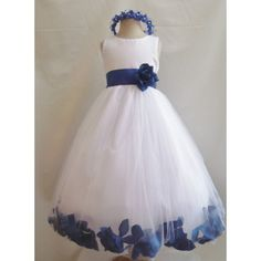 Flower Girl Dress Rose Petal White with Blue Royal for Easter Wedding Bridesmaid