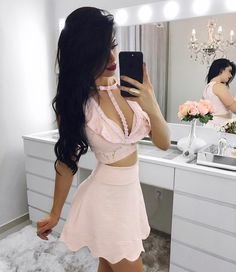 Elegant Prom Dresses, Two Piece Crew Short Pink Lace Homecoming Dress with Keyhole Shop for La Femme prom dresses. Elegant long designer gowns, sexy cocktail dresses, short semi-formal dresses, and party dresses. 2 Piece Homecoming Dresses, Elegant Bridesmaid Dresses, Tulle Prom Dress, Lace Dress, Dresses Short, Sweet 16 Dresses, Sexy Dresses, Prom Dresses, Pink Party Dresses