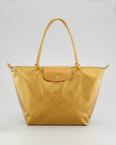 LM Metal Shoulder Tote Bag, Gold by Longchamp at Neiman Marcus.  Great possible travel bag for Europe.