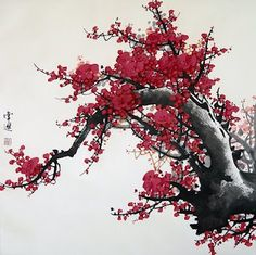 Image discovered by emii. Find images and videos about japan, painting and japanese cherry blossom on We Heart It - the app to get lost in what you love. Chinese Cherry Blossom, Cherry Blossom Images, Red Cherry Blossom, Cherry Tree, Haruki Murakami, Japanese Painting, Chinese Painting, Chinese Artwork, Painting Art