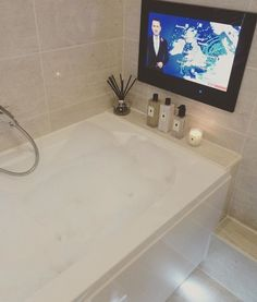 TV in the bathroom Family Bathroom, Sloped Ceiling, Corner Bathtub, Bathrooms, Household, Tv, Design, Slanted Ceiling, Bathroom
