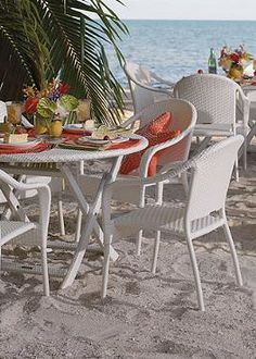 Perfect for outdoor entertaining, the foldable, stackable and storable Cafe Dining Collection is so attractive, no on will know they fold!
