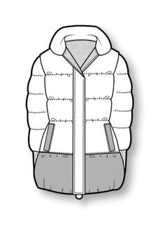 Outerwear Fashion Design Template, Fashion Pattern, Fashion Design Sketches, Flat Drawings, Flat Sketches, Technical Illustration, Technical Drawing, Fashion Model Drawing, Clothing Sketches