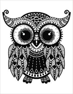Take A Journey ~ Owl: Blank Lined Diary Journal Book Notebook - x 120 pages, Zentangle cover & interior image suitable for coloring! Doodle Art Drawing, Zentangle Drawings, Pencil Art Drawings, Art Drawings Sketches, Zentangles, Mandala Art, Mandala Drawing, Design Vector, Design Art