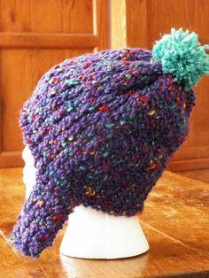 Knit Hat Purple Chunky Knit with Multicolor by jamiesierraknits, $12.00