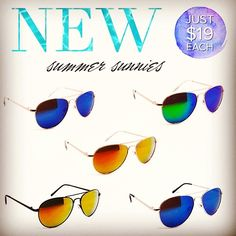 Check out our NEW sunglasses! These classic aviator-style sunnies combined with colorful mirrored lenses are the biggest trend in designer eyewear. #justjewelry #jewelry #fashionjewelry #sunglasses #mirroredlens #aviators #eyewear