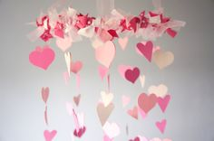Pink Nursery Heart Mobile by LoveBugLullabies on Etsy, $63.00