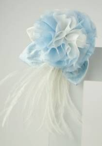 Something Blue For the Bride--Style # 1054. Silk chiffon, ostrich feather