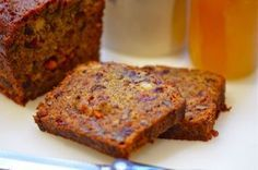 Persimmon Bread at Putney Farm - borders on fruitcake with nuts & dried fruit & alcohol & sweet, sweet persimmon . Persimmon Cookies, Persimmon Bread, Persimmon Recipes, Fall Recipes, Sweet Recipes, Delicious Desserts, Dessert Recipes, Sweet Bread, Baked Goods