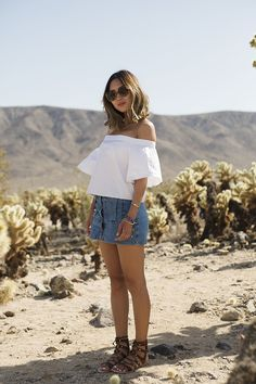 Off The Shoulder Top and Denim Skirt in Joshua Tree