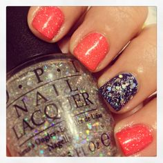 #nails coral navy nails with glitter
