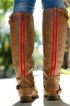 Saddle Up Tall Red Zipper Cowgirl Riding Boots - Tan from Breckelles at Lucky 21