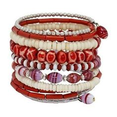 Ten Turn Bead and Bone Bracelet - Red & White - CFM Made in India by The Community Friendly Movement, a member of the WFTO, this bracelet is made of primarily bone beads on wire and accented with metal and glass beads. This bracelet has 10 turns of beads. Bohemian Bracelets, Handmade Bracelets, Handcrafted Jewelry, Beaded Bracelets, Unique Jewelry, Jewelry Ideas, Custom Jewelry, Fair Trade Jewelry, Pandora
