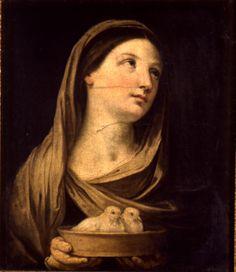 Guido Reni  Calvenzano 1575 – Bologna 1642  Donna con colombe  Olio su tela  cm 54 x 47