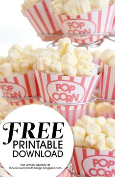 Cupcake Popcorn Wrapper … Free Printable (she: Sharon) Check out this free printable cupcake popcorn wrapper, which will let you customize your party treats in no time! These would be great for movie night! Popcorn Bar, Popcorn Cupcakes, Free Popcorn, Movie Cupcakes, Flavored Popcorn, Lila Party, Movie Night Party, Movie Nights, Movie Theatre Birthday Party
