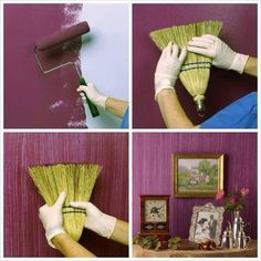 13 Creative And Easy DIY Projects For Your Home - Make a Textured Painted Wall with a Broom