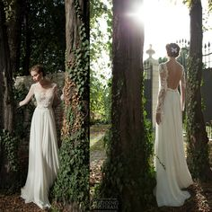 vestidos 2014 sexy beach chiffon wedding dresse scoop neck long sleeve backless sheer lace bridal gowns BTA04 $176.00