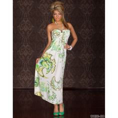 Rochie Muse Alb Verde Muse, Strapless Dress, My Style, Shopping, Dresses, Fashion, Green, Gowns, Moda