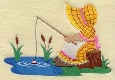 Sunbonnet Sue at the Fishing Hole design (H6167) from www.Emblibrary.com