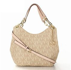 Michael Kors Logo Large Apricot Shoulder Bag - * Leather* Golden MK logo charm* Shoulder strap* Flap openning with a snap closure* Inside zip, cell phone and multifunction pockets Michael Kors 2015, Michael Kors Handbags Sale, Michael Kors Satchel, Michael Kors Shoulder Bag, Michael Kors Outlet, Michael Kors Hamilton, Chain Shoulder Bag, Shoulder Bags, Leather Chain
