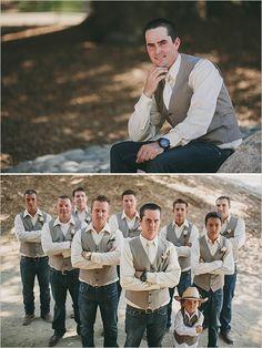 jeans and vest groomsmen look #casualgroom #meninvests #ranchwedding http://www.weddingchicks.com/2014/01/09/honey-sweet-wedding/