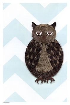 Quilled owl on a chevron pattern