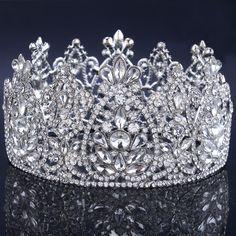 2016 Nueva Tiara Cristalina Nupcial Pelo de La Boda Accesorios de Boda Del Desfile de la Tiara de La Corona corona del rhinestone Ronda Simétrica