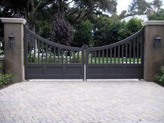 Grey driveway gate