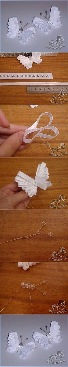 Uma ideia que pode servir como uma linda lembrancinha. ribbon butterfly tutorial