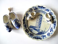 Delft Holland Miniature Plate and Shoes, Blue and White Porcelain Miniature Plate and Clogs