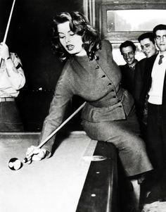 Sophia Loren playing pool in the 1950's