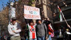 Marcha en el centro de Santiago contra la guerra en Gaza