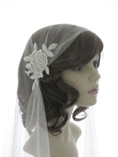Couture bridal cap veil 1920s wedding  veil  by SarahMorganBridal, £130.00