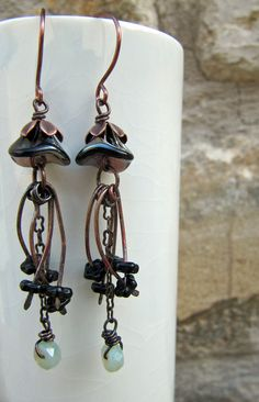 Scorched Tendrils, Handmade Earrings, Flower Earrings, Bead Earrings, Copper Earrings, Glass Earrings, Black, Copper, Rust. £11.00, via Etsy.