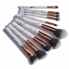 Hot sale 10 pcs/set Marbling Professional Makeup Brushes Marmor design brush Cosmetics Eyes Concealer With Plastic Handle