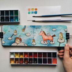 Unicorn☁️ . . #samoshkina_art #illustration #illustrations #dailyart #art #artist #art_we_inspire #art_spotlight #art_public #inspire #instaart #wearevsco #vscoart #vscocam #watercolors #watercolorart #aquarelle #cute #toppaint #topdraw #topcreator #globalart #topart #painteveryday #detail #soulart #artcitchen #eatsleepdraw #artbook #illustrationartists