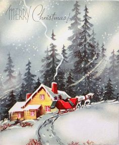 #1147 50s Snowy Sleigh Ride-vintage Christmas Card-greeting