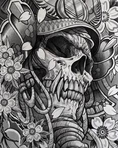 👹💀⚔️🏹 Artwork by: Damian Robertson Location: Calgary AB, Canada Artist's IG: Tattoo Design Drawings, Skull Tattoo Design, Skull Tattoos, Dragon Tattoos, Sleeve Tattoos, Japanese Tattoo Art, Japanese Tattoo Designs, Japanese Art, Japanese Dragon